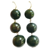 Vintage 14kt Gold Bloodstone Earrings