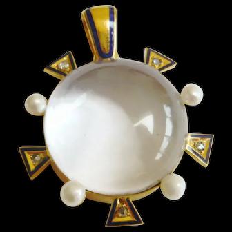 Edwardian Enamel, Rock Crystal & Diamond Pendant