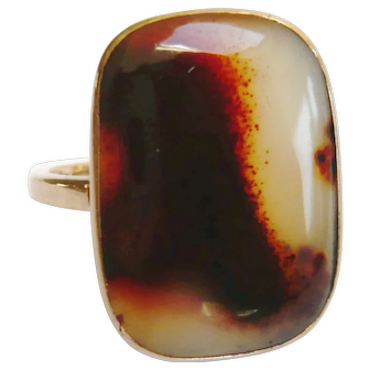 Victorian Large Agate 9ct Gold Ring