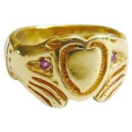 Vintage 18ct Gold Fede Ring with Rubies