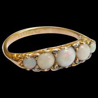 Victorian 15ct Gold 5 Stone Opal & Diamond Ring