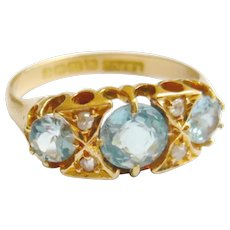 Edwardian 18ct Gold Aquamarine & Diamond Ring