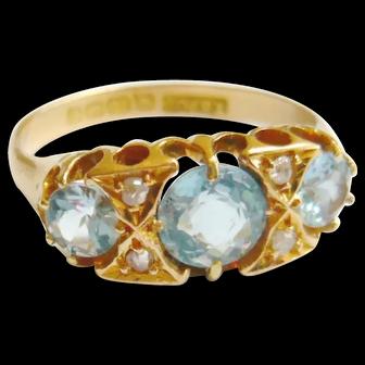 Edwardian 18ct Gold Aquamarine & Diamond Ring