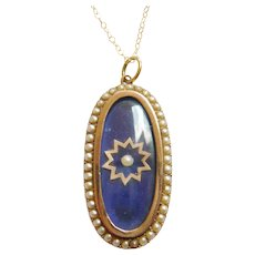 Victorian 15ct Gold Blue Glass Seed Pearl Pendant