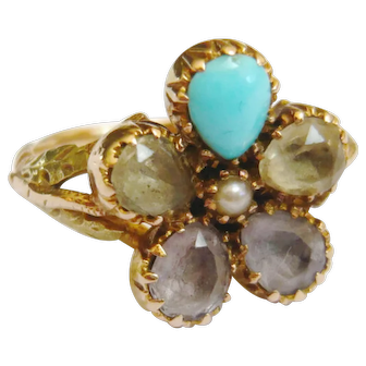 Victorian 15ct Gold Gemstone Pansy Ring