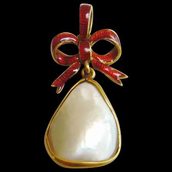 Edwardian 15ct Gold Enamel Bow Blister Pearl Pendant