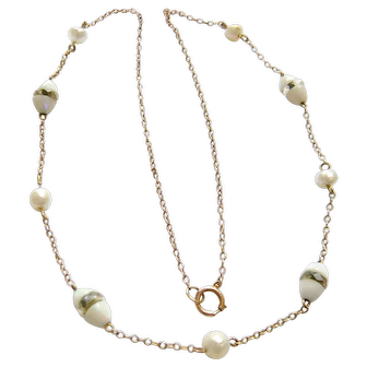 Edwardian Opal & Pearl Spacer Necklace