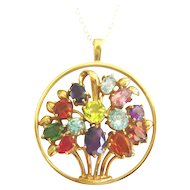 Vintage 9kt Gold Multi Gemstone Flower Pendant