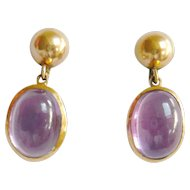 Vintage 14kt Gold Synthetic Purple Sapphire Earrings