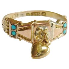 Victorian 9ct Gold Turquoise Heart Dangle Ring