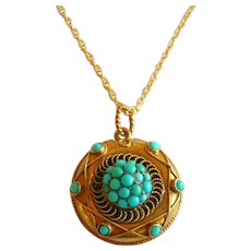 Victorian 15ct Gold Pavé Turquoise Locket