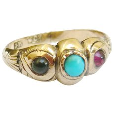 Victorian 9ct Gold Garnet & Turquoise Ring