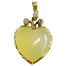 Late Victorian Child & Child Yellow Chalcedony & Diamond Heart Pendant