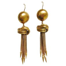 Vintage 9ct Gold Knot Tassel Spike Earrings