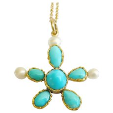 Victorian 15ct Gold Turquoise & Pearl Starfish Pendant