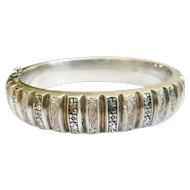 Vintage Silver & Black Enamel Bracelet