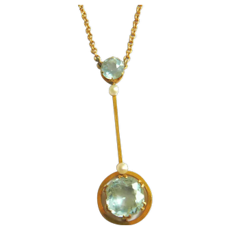 Edwardian 9ct Gold Aquamarine & Pearl Necklace