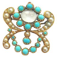 Late Georgian Turquoise & Pearl Pendant Brooch