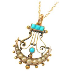 Victorian 15ct Gold Turquoise & Pearl Pendant