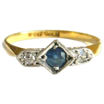 Art Deco 18ct Gold Sapphire & Diamond Ring
