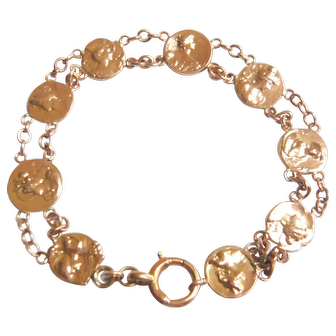 Art Nouveau 9ct Gold Coin Bracelet