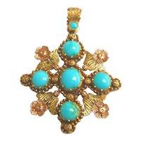 Georgian Regency Period 18ct Bi-Colour Gold Turquoise Pendant