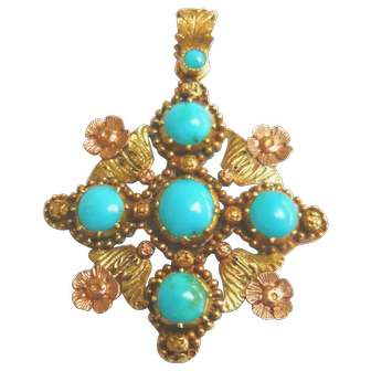 Georgian Regency Period 18ct Bi-Colour Gold Turquoise Pendant
