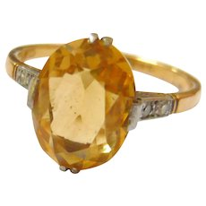Edwardian 18ct Gold Citrine & Diamond Ring