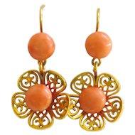 Vintage 12ct Gold Coral Flower Earrings
