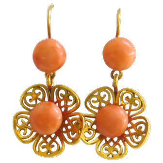Vintage 12ct Gold Coral Flower Earrings