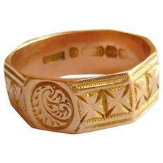 Victorian 9ct Gold Cigar Band Ring