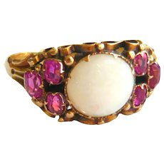 Victorian 15ct Gold Opal & Ruby Ring