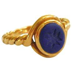 Victorian 18ct Gold Lapis Lazuli Intaglio Ring