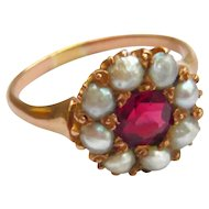 Victorian Red Spinel & Pearl Cluster Ring