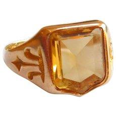 Victorian 15ct Gold Citrine Shield Signet Ring