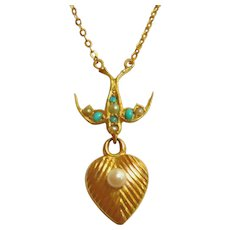 Edwardian 15ct Gold Swallow & Heart Necklace