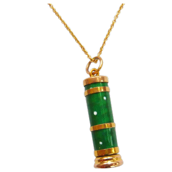 Edwardian 9ct Gold Enamel Telescopic Pencil Pendant