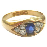 Victorian 18ct Gold Sapphire & Diamond Gypsy Ring