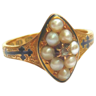 Victorian 18ct Gold Blue Enamel Cross Seed Pearl Ring
