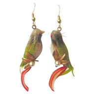Art Deco Genuine Bird Feather Lovebird Earrings