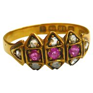 Edwardian 18ct Gold Ruby & Diamond Triangles Ring