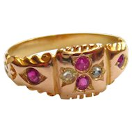 Edwardian 15ct Gold Ruby & Diamond Square Ring