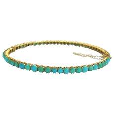Victorian Gold Turquoise Set Bangle Bracelet