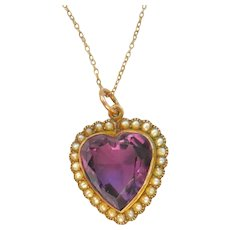 Edwardian 9ct Gold Amethyst & Pearl Heart Pendant