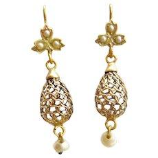 Victorian 15ct Gold Mesh & Pearl Drop Earrings