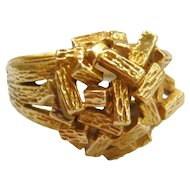Vintage Retro 9ct Gold 'Twig' Cocktail Ring