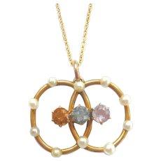 Edwardian Pearl & Gemstone Twist Pendant