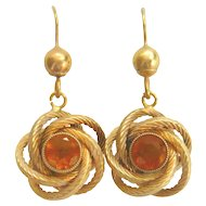 Vintage 9ct Gold Citrine Knot Earrings
