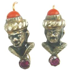 Victorian Blackamoor Earrings with Coral & Garnet