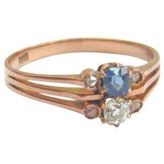 Edwardian 14kt Gold Sapphire & Diamond Ring
